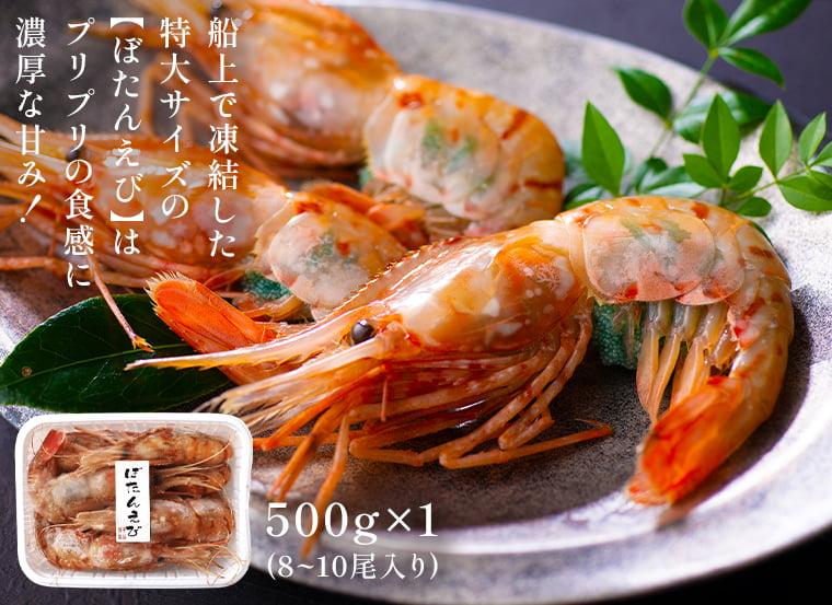 お刺身用特大ボタンえび(500g×1)プリプリの食感でありながら口の中で溶けていくように濃厚な甘み、旨味を味わえます。