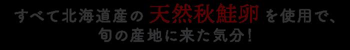 すべて北海道産の天然秋鮭卵を使用で、旬の産地に来た気分!
