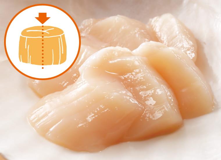 プリプリ食感の厚い貝柱