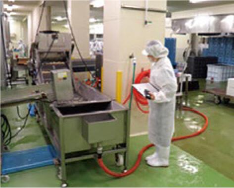 製造工場内を清掃、点検する様子
