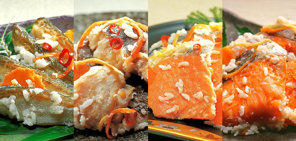 鮭飯寿司 ハタハタ飯寿司 ほっけ飯寿司 きんき飯寿司盛り付け